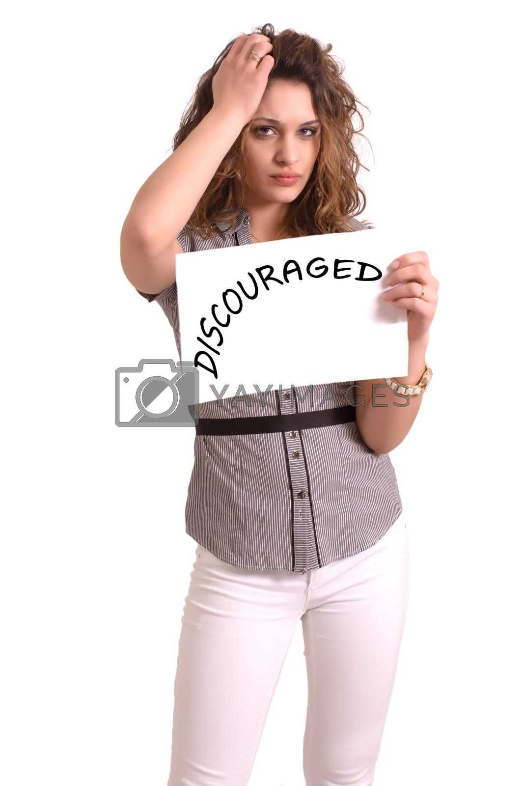 Young attractive woman holding paper with Discouraged text on white background