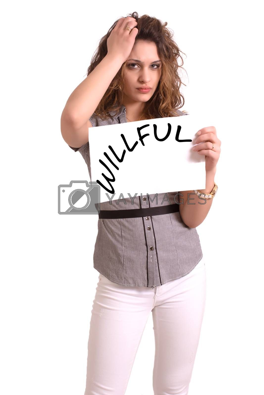 Young attractive woman holding paper with Willful text on white background