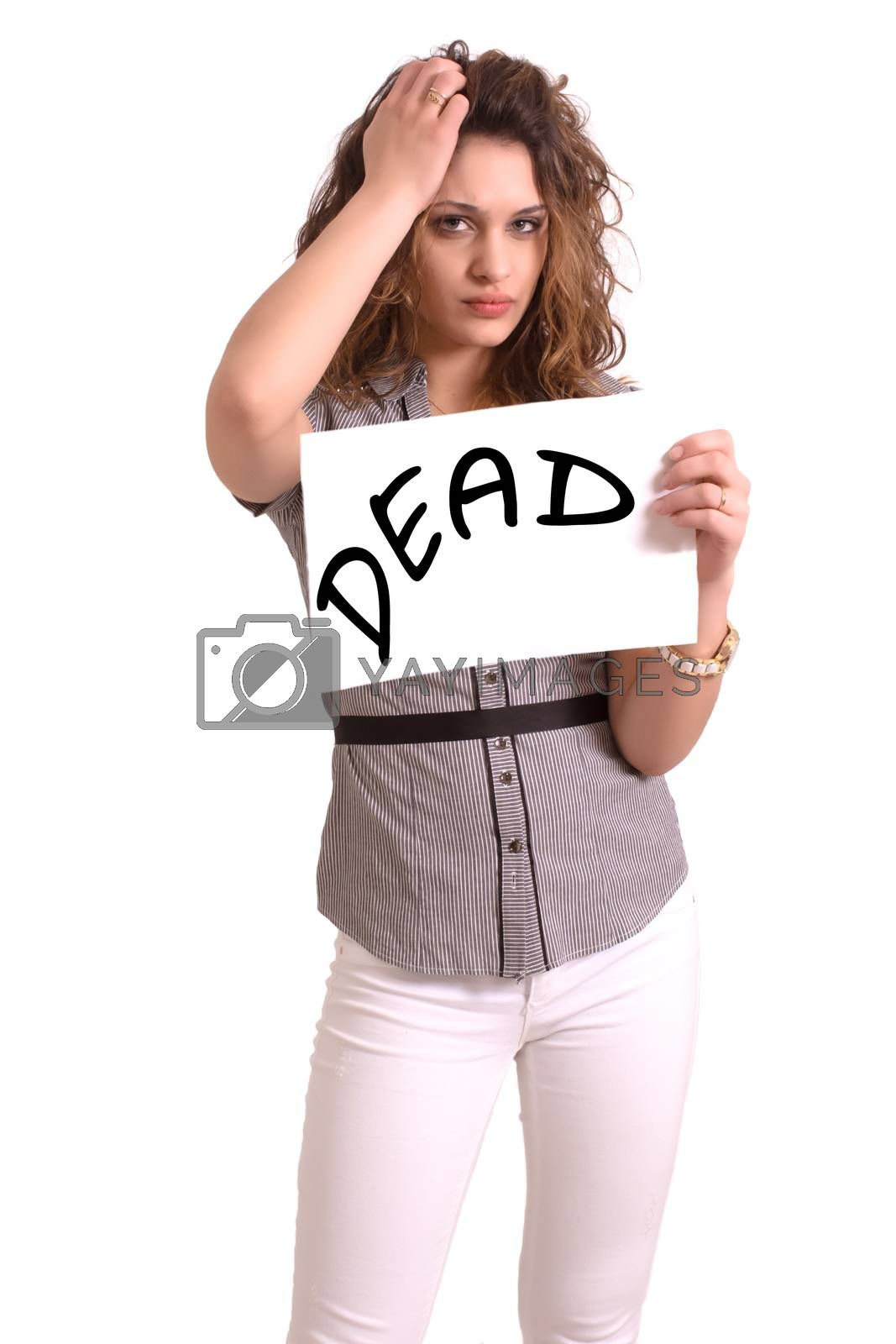 Young attractive woman holding paper with Dead text on white background