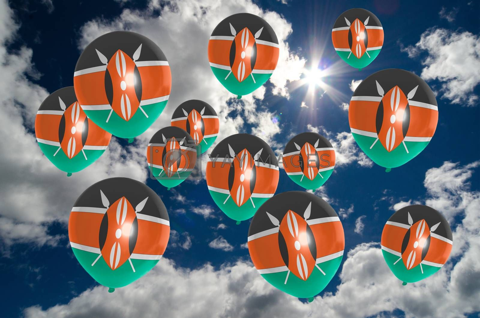 many ballons in colors of kenya flag flying on sky
