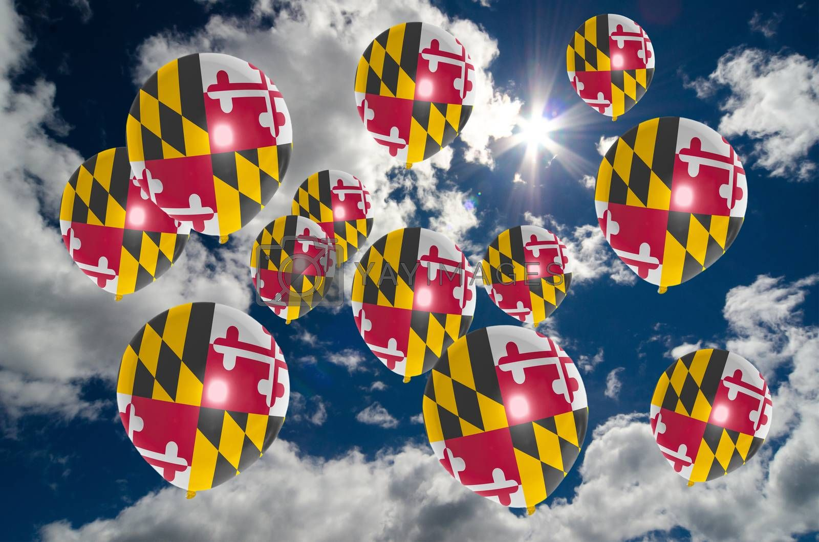 many ballons in colors of maryland flag flying on sky