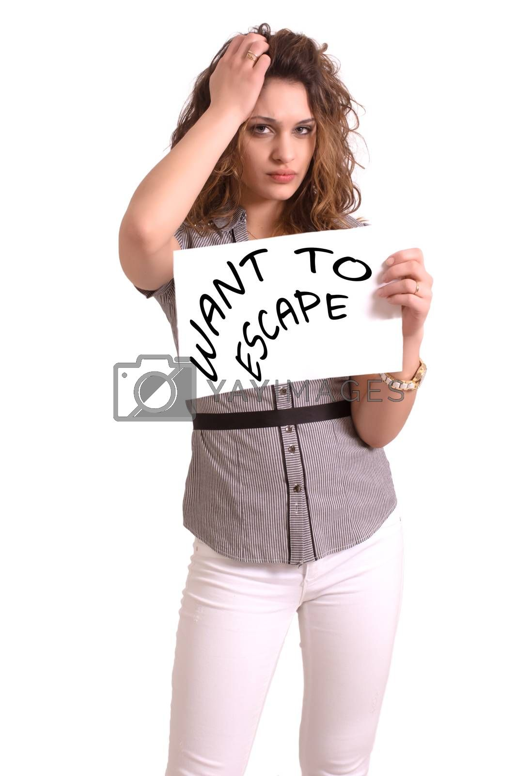 Young attractive woman holding paper with Want to escape text on white background