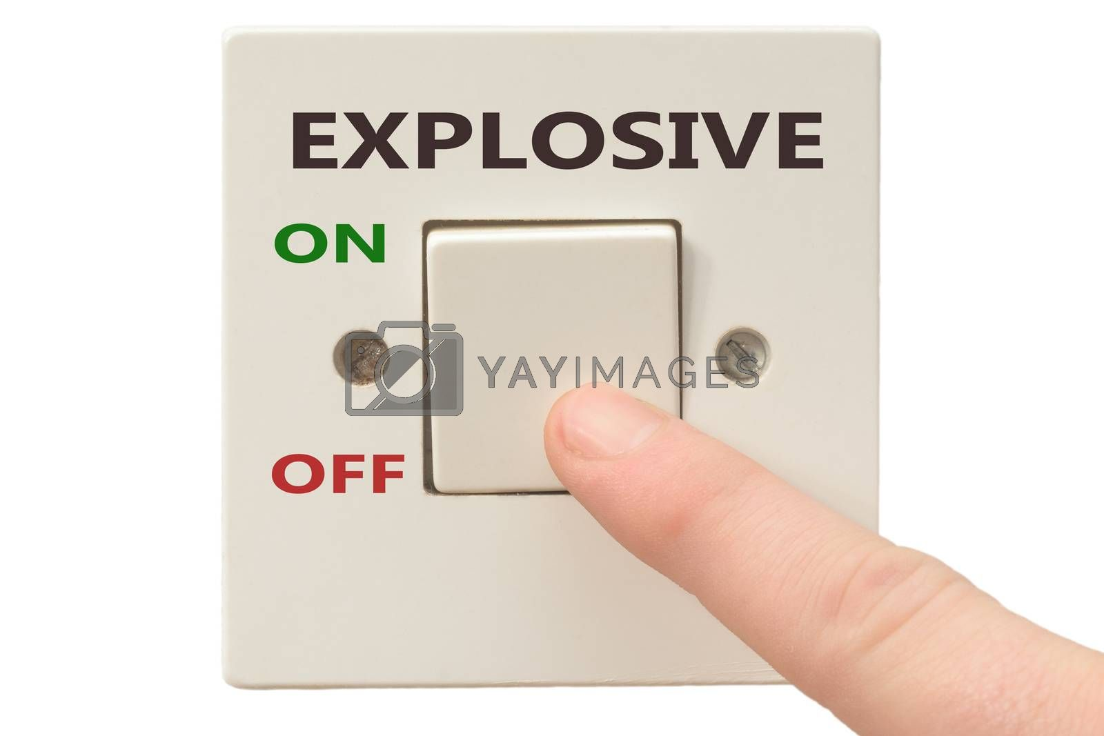 Turning off Explosive with finger on electrical switch