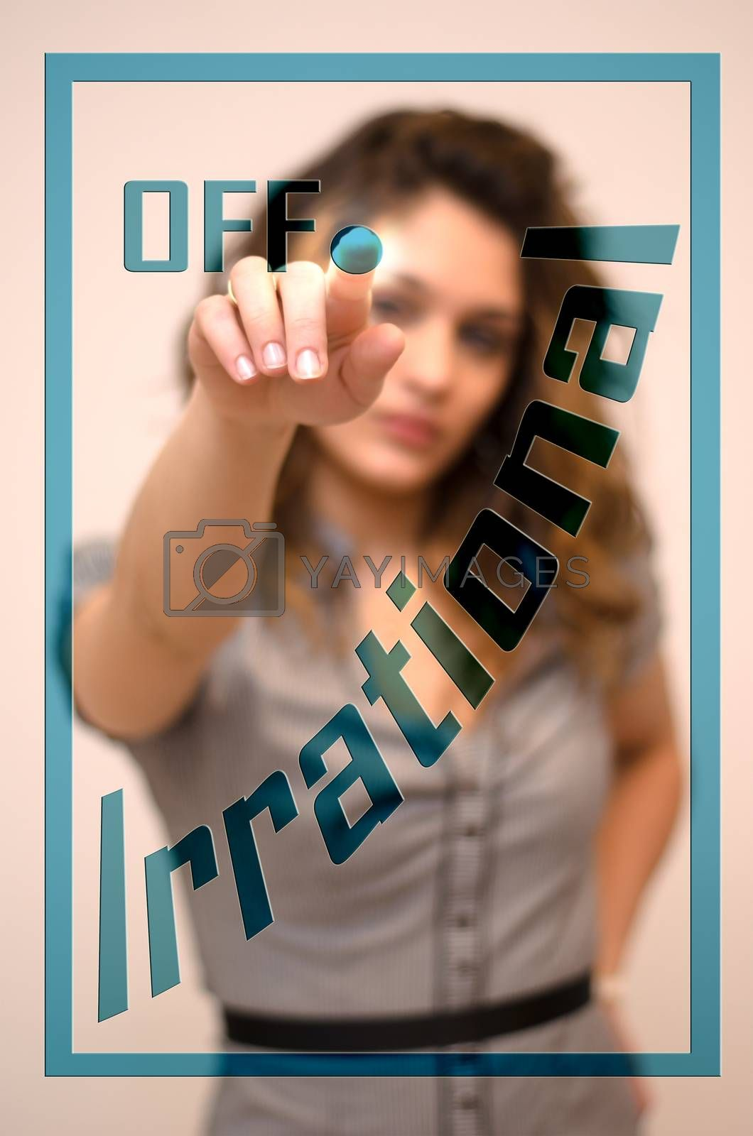 young woman turning off Irrational on screen