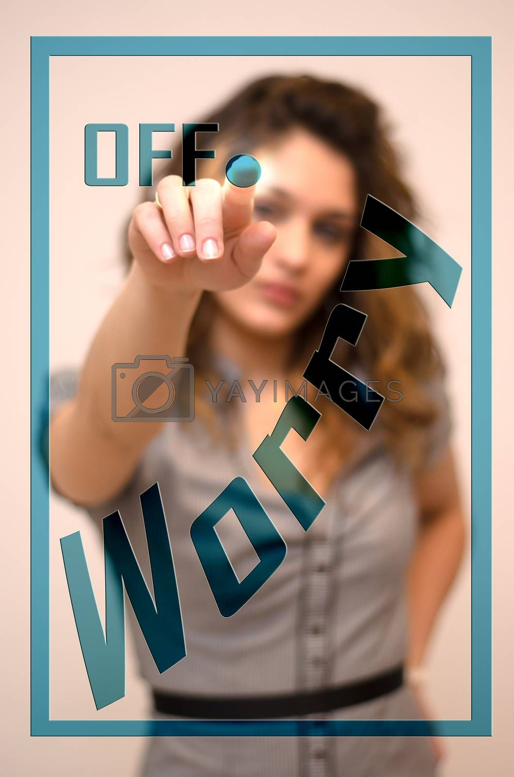 young woman turning off Worry on screen
