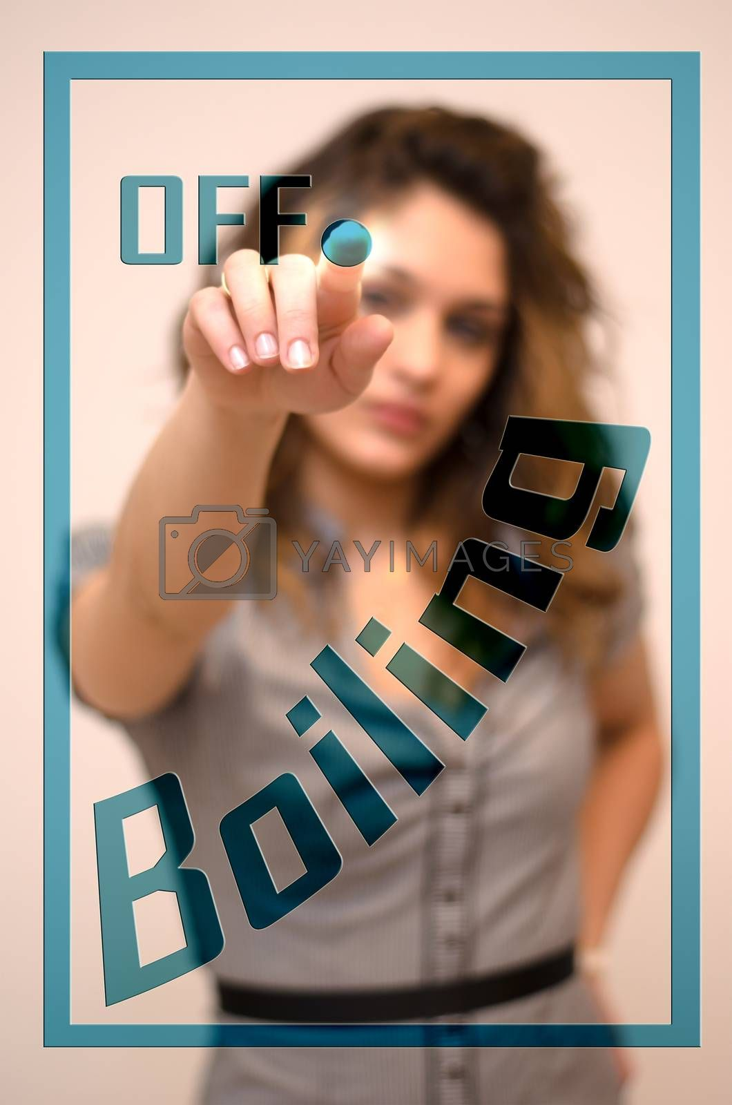 young woman turning off Boiling on screen