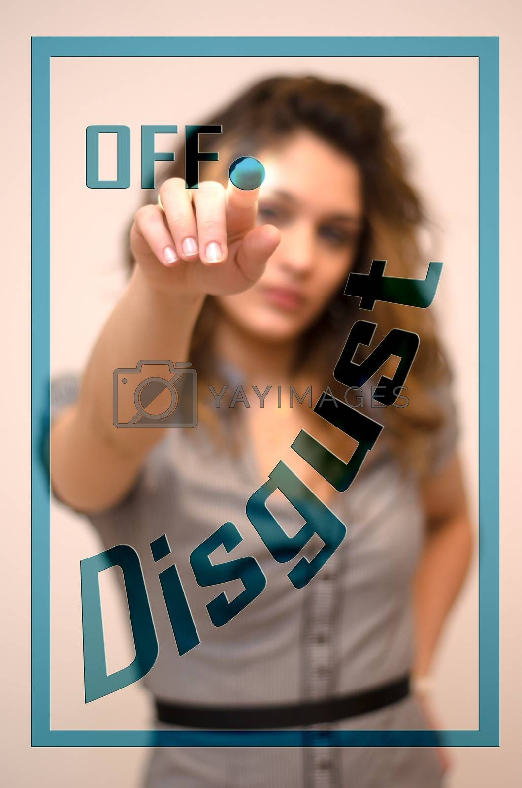 young woman turning off Disgust on screen