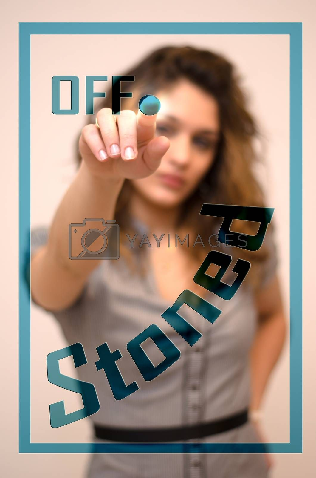 Royalty free image of woman turning off Stoned on panel by vepar5