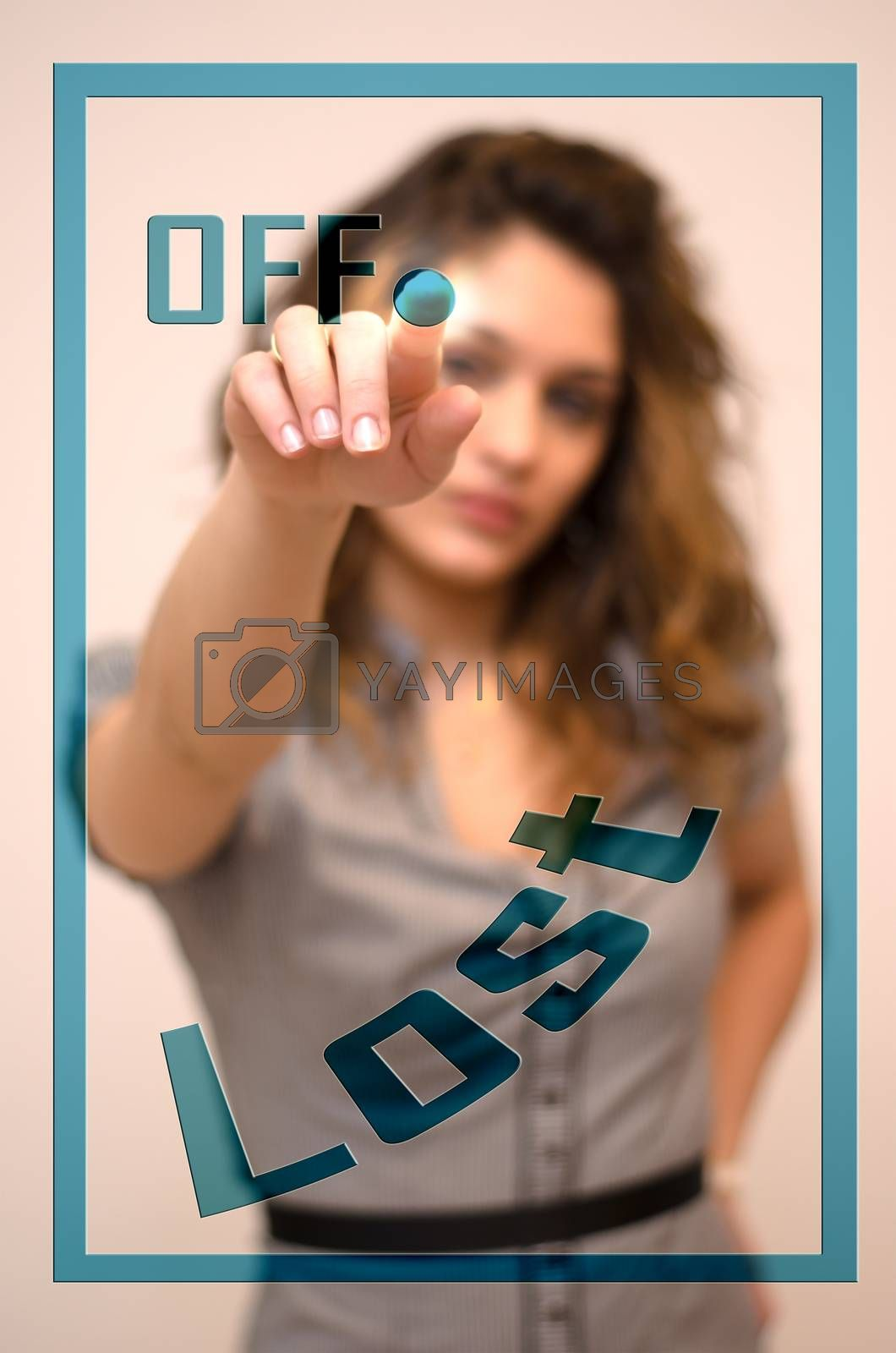 Royalty free image of woman turning off Lost on panel by vepar5