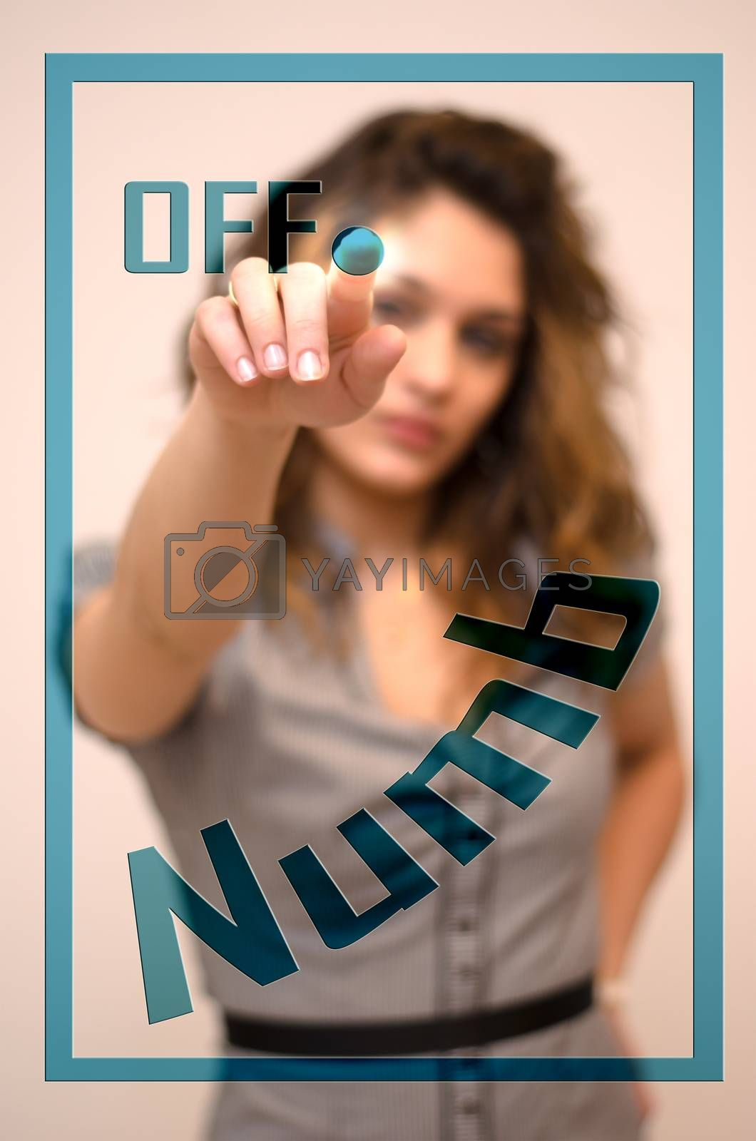 Royalty free image of woman turning off Numb on panel by vepar5