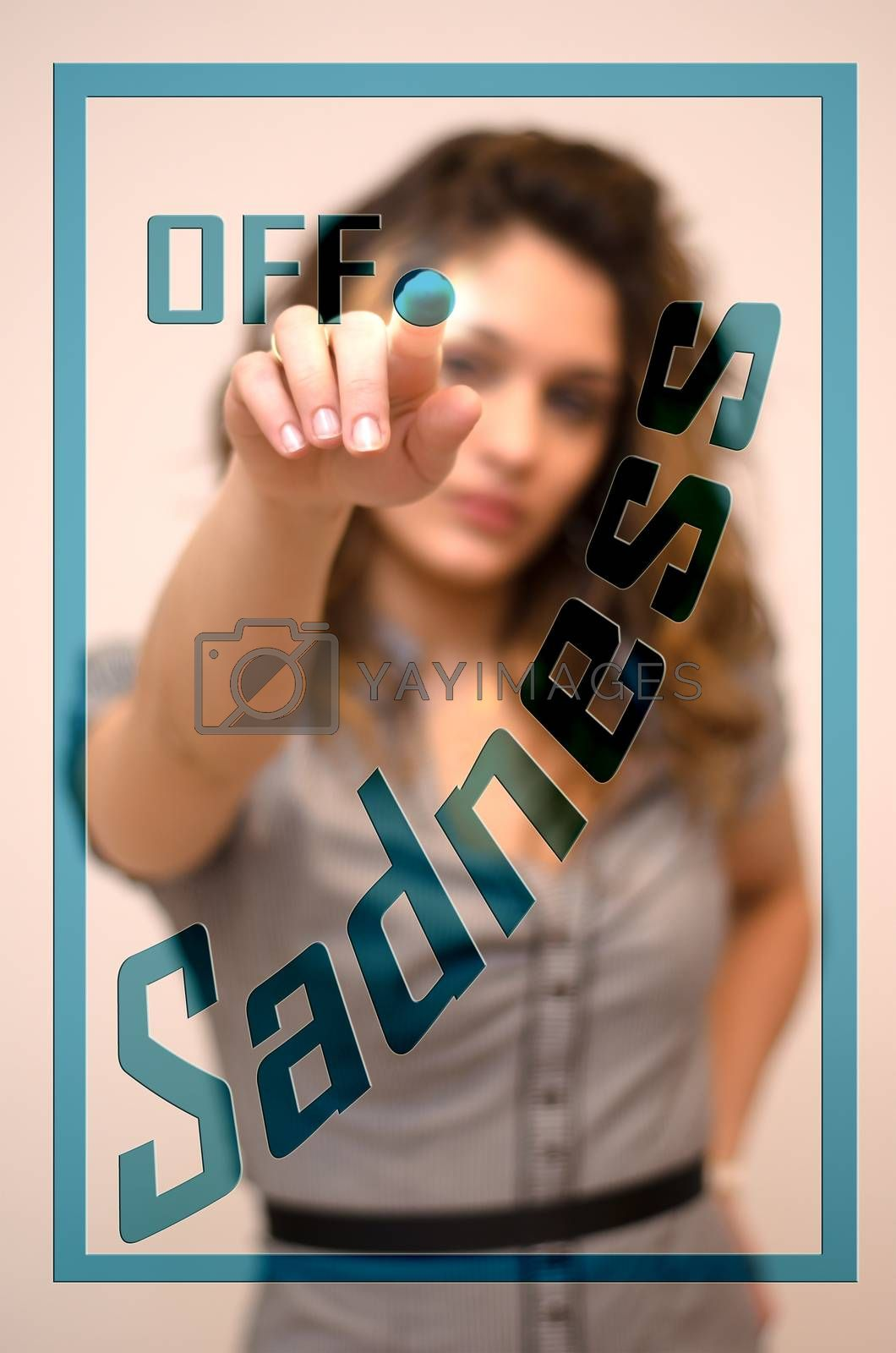 Royalty free image of woman switching off Sadness on digital interace by vepar5