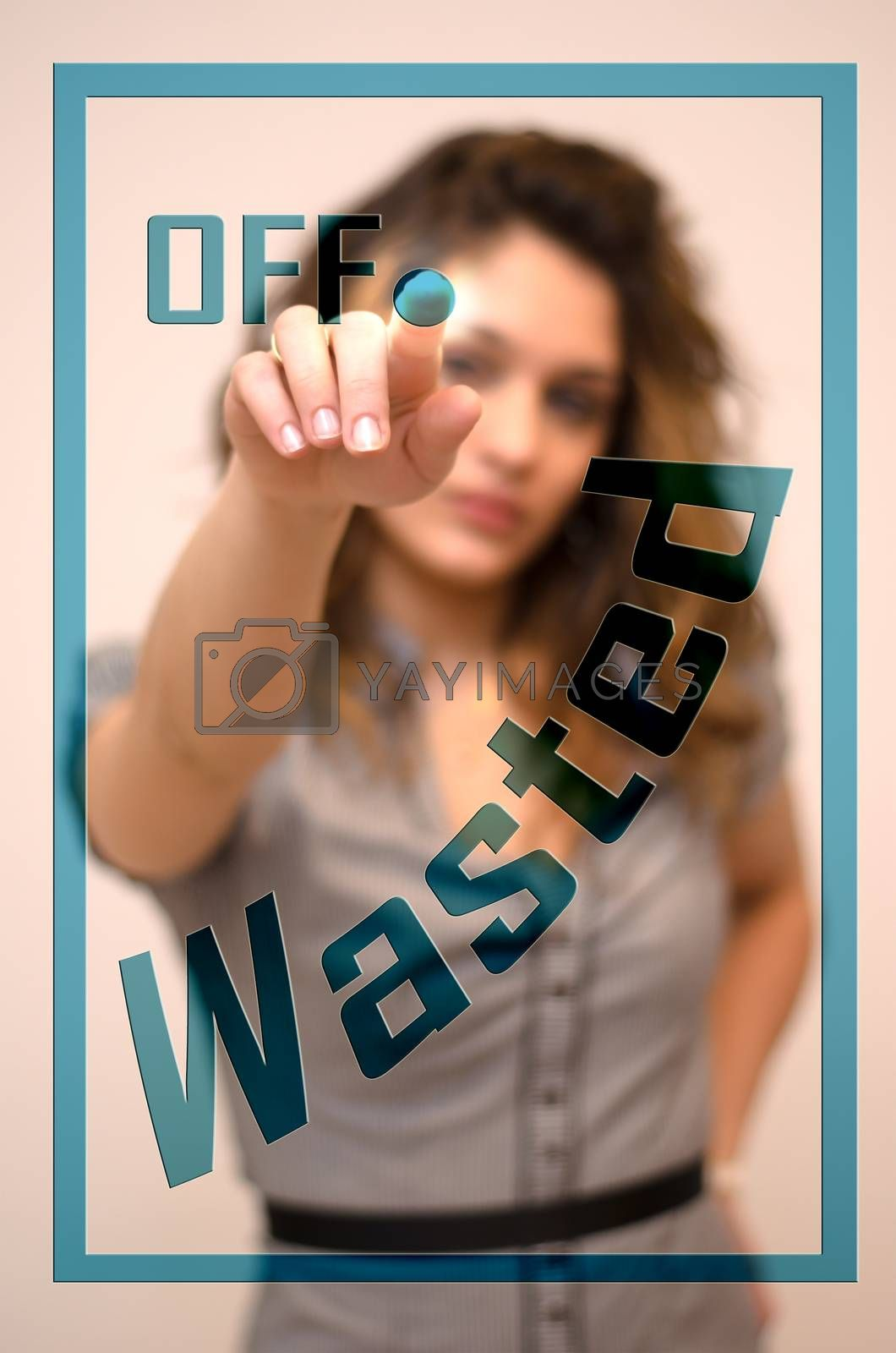 Royalty free image of woman turning off Wasted on panel by vepar5
