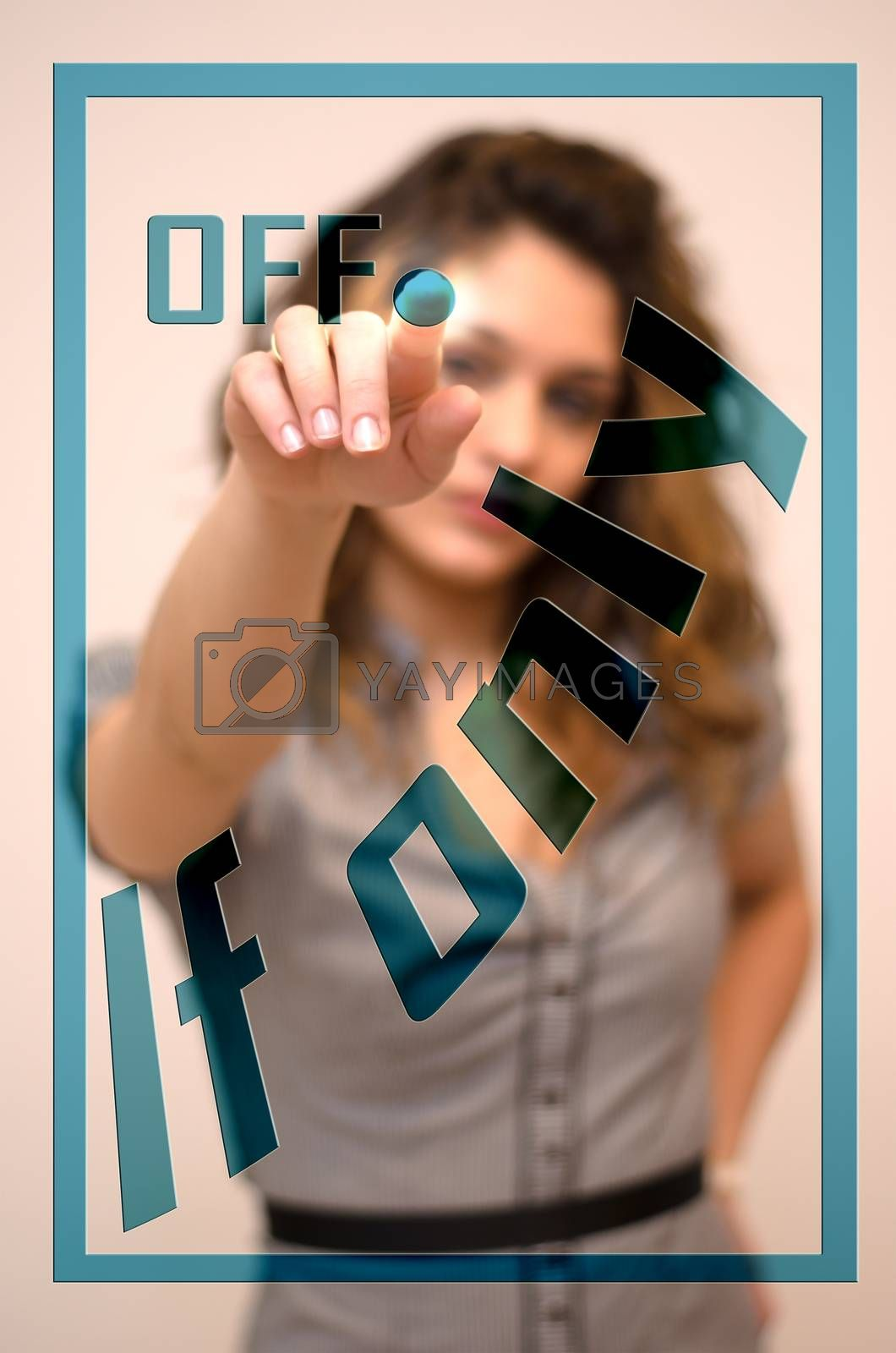 Royalty free image of woman switching off If only on digital interace by vepar5