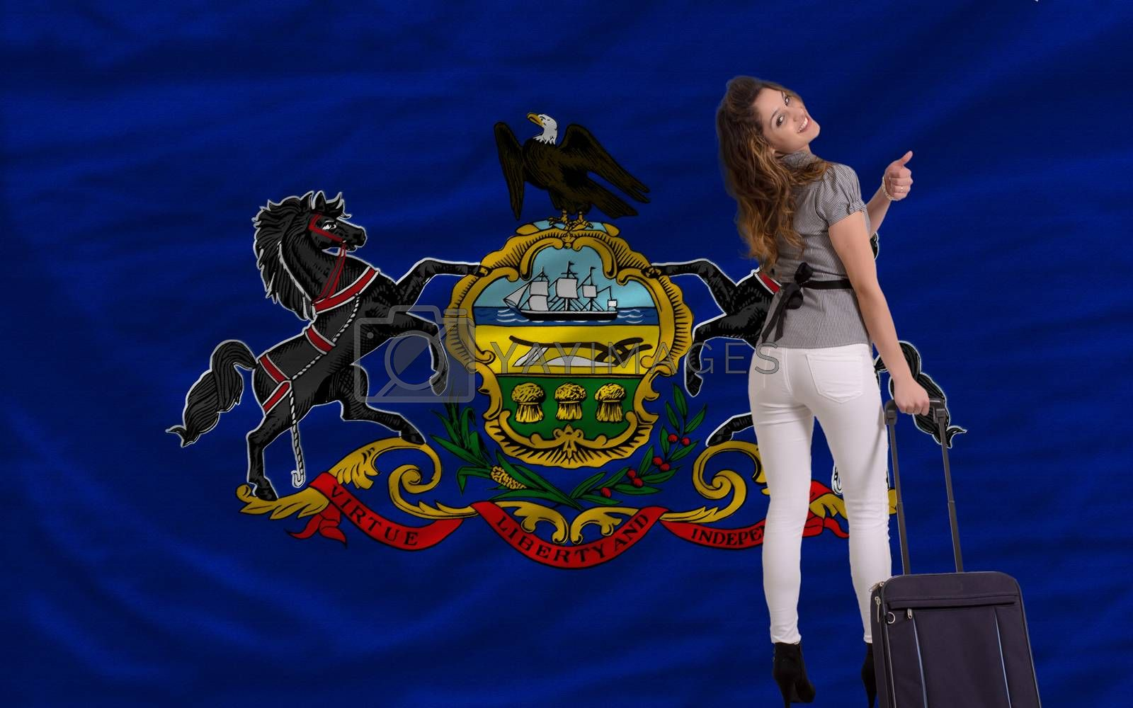 young beautiful woman is traveling to pennsylvania