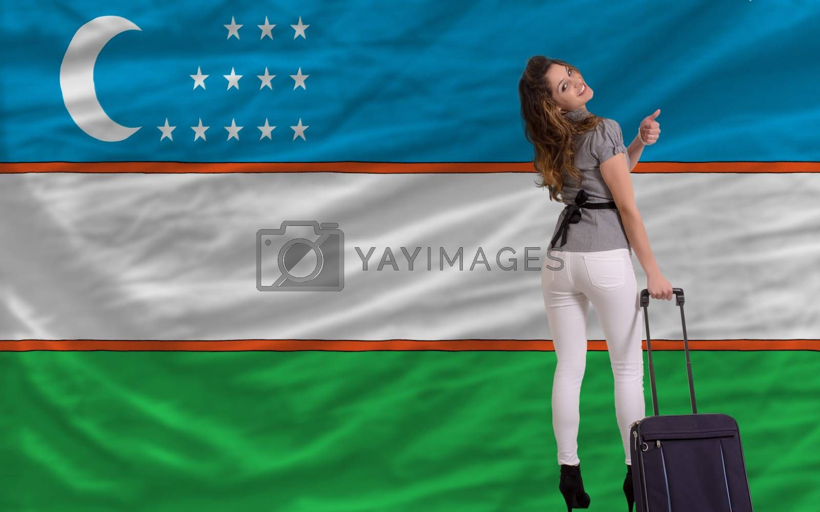 young beautiful woman is traveling to uzbekistan