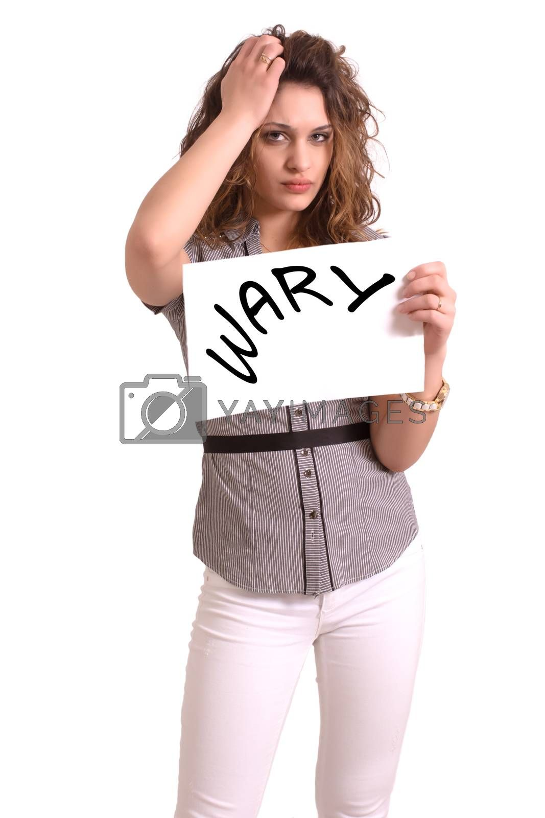 Young attractive woman holding paper with Wary text on white background