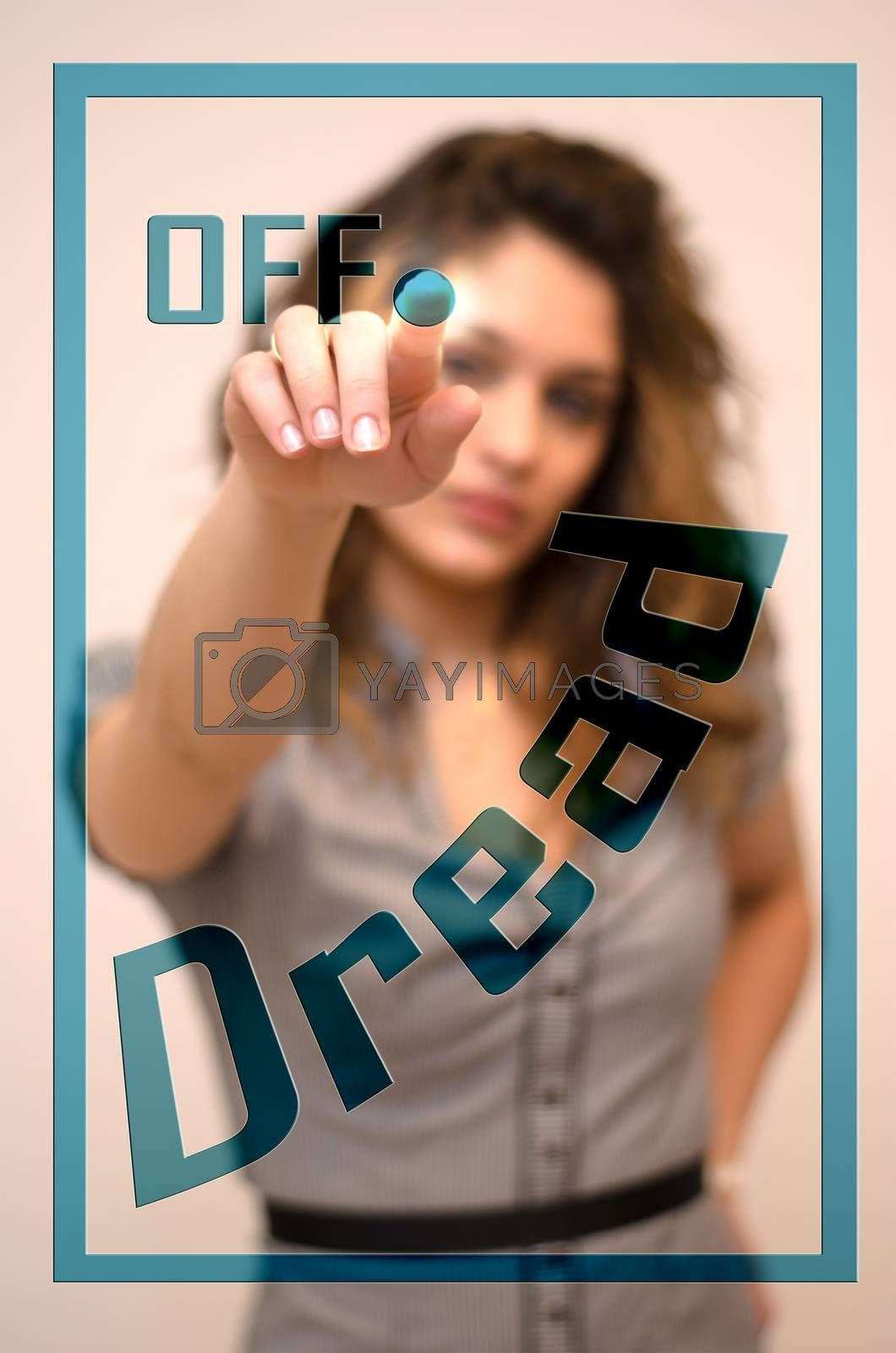 young woman turning off Dread on screen