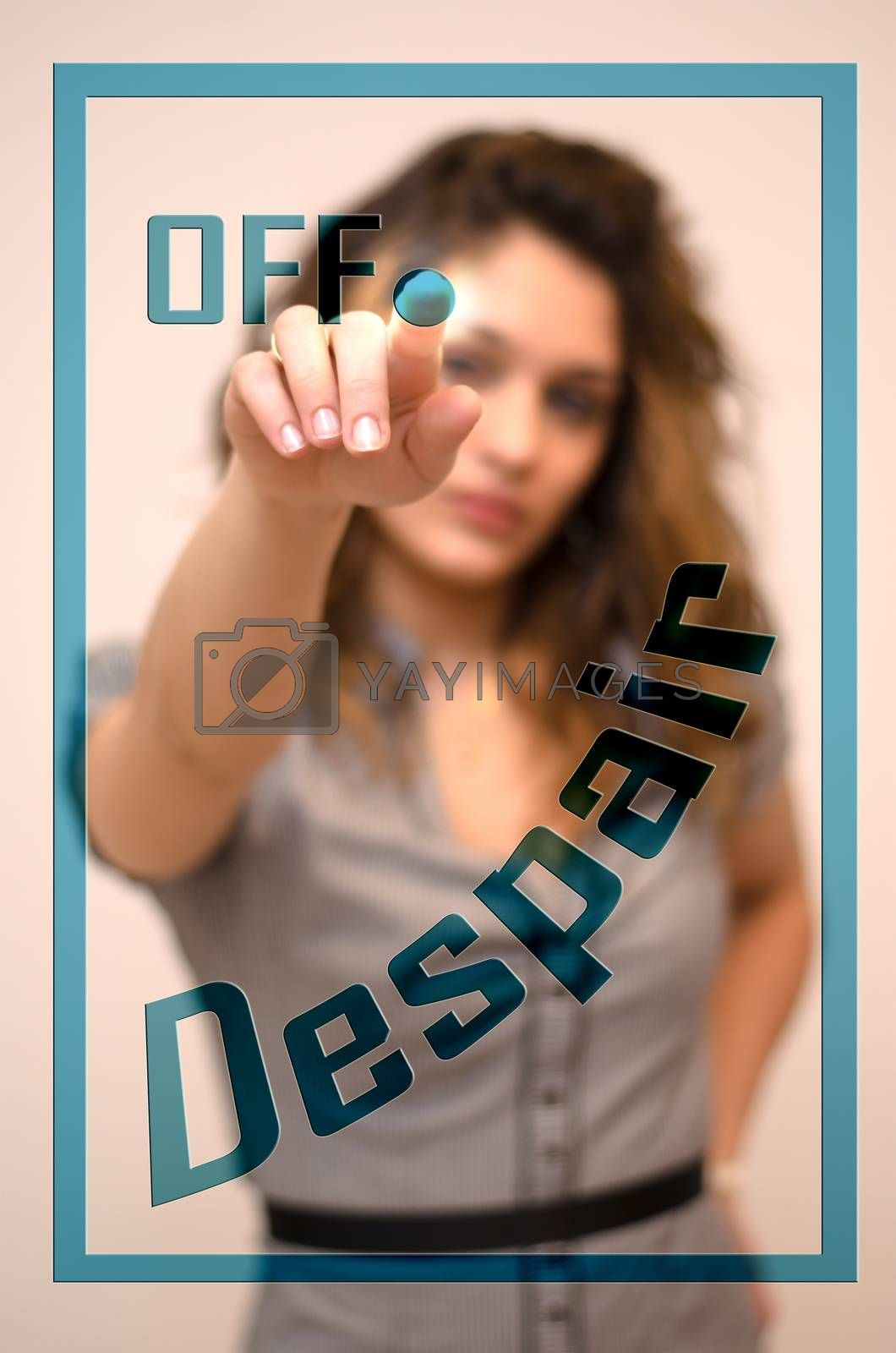 young woman turning off Despair on digital panel