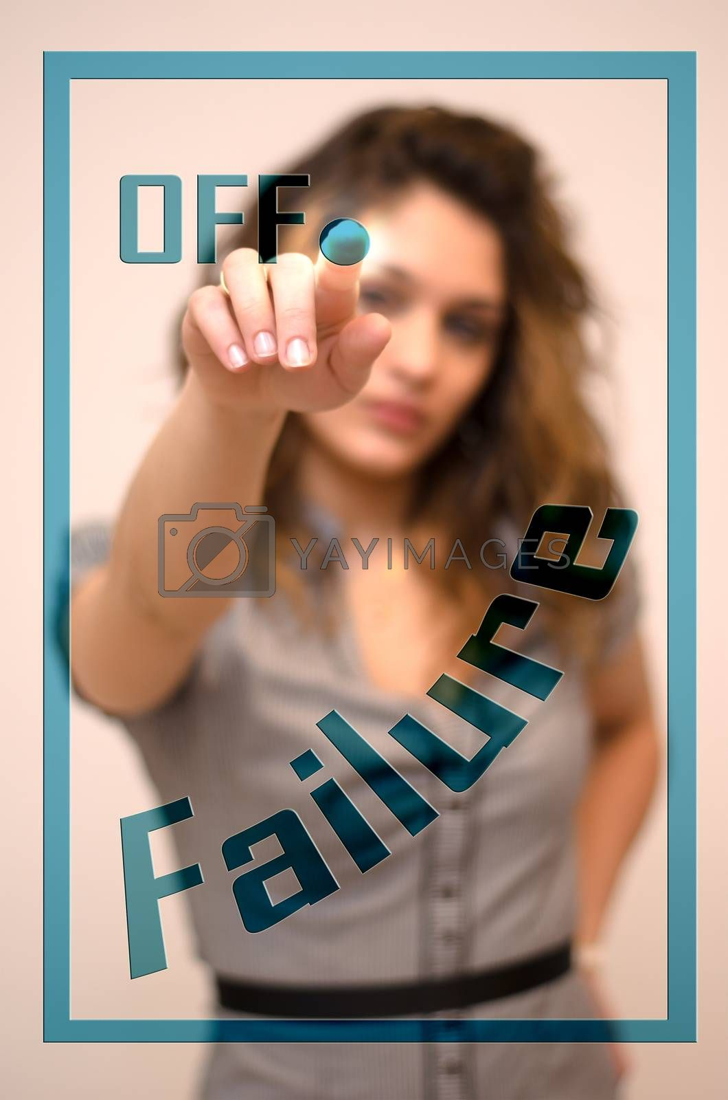 young woman turning off Failure on digital panel
