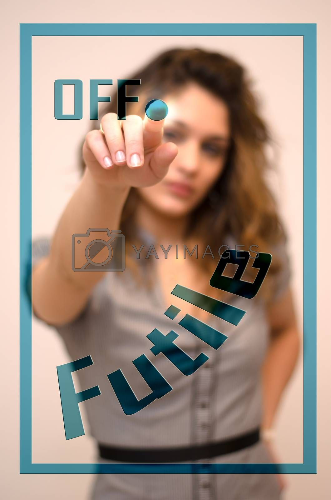 young woman turning off Futile on digital panel