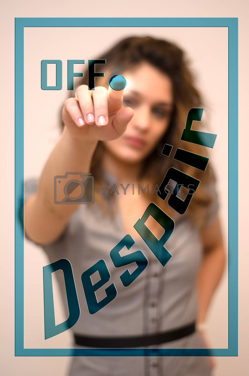 young woman turning offDespair on hologram screen