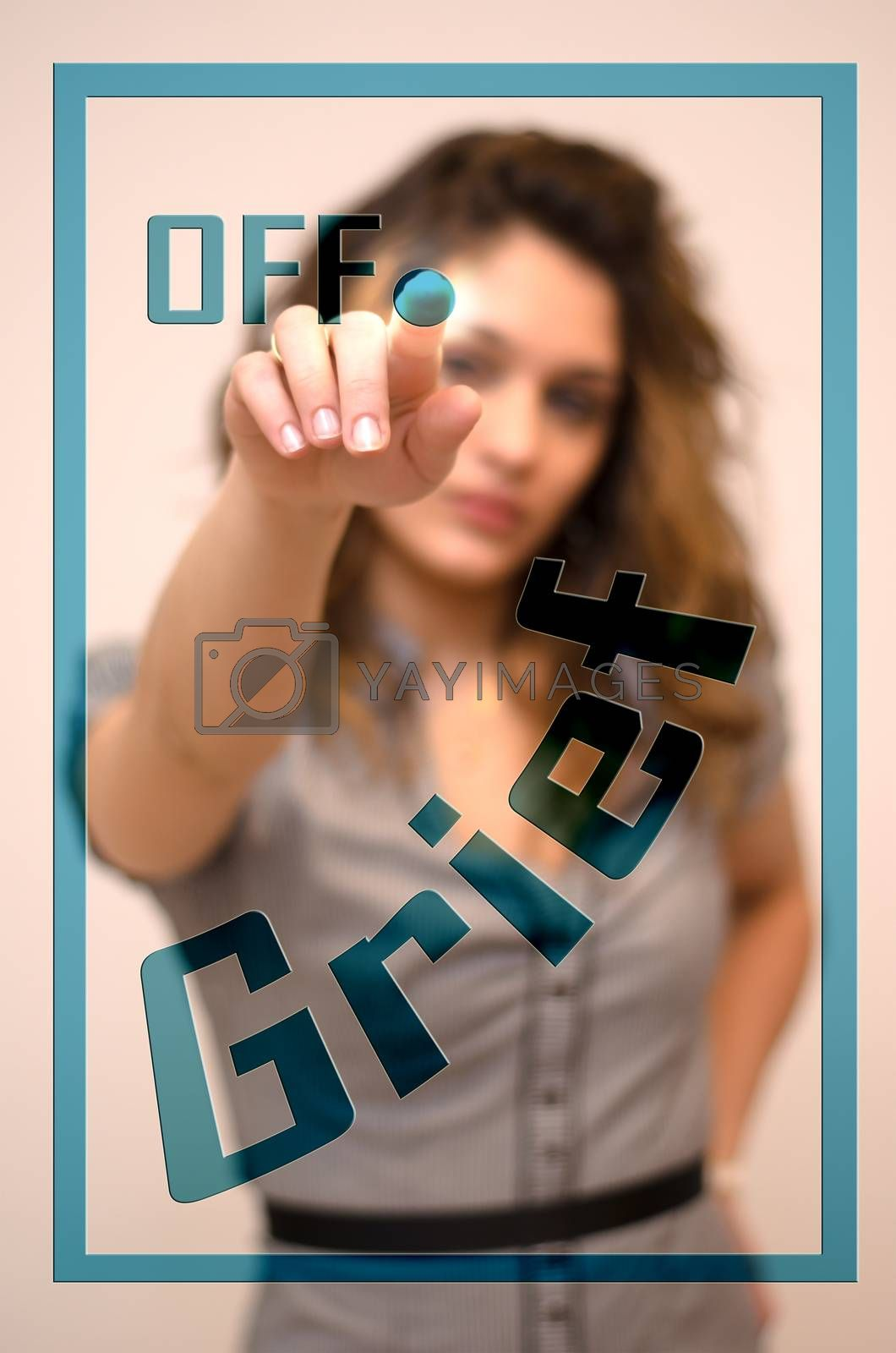 young woman turning offGrief on hologram screen