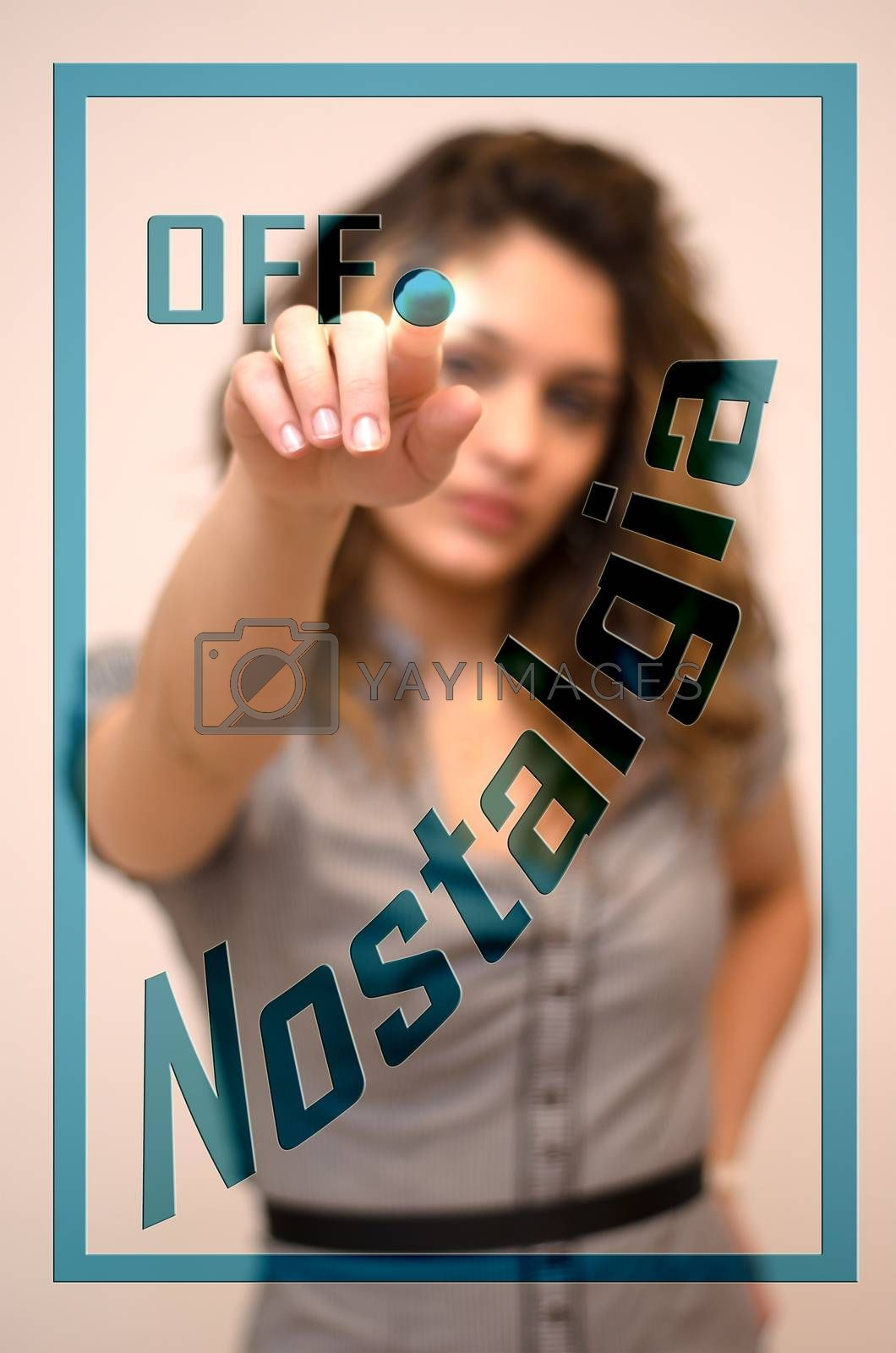 young woman turning offNostalgia on hologram screen