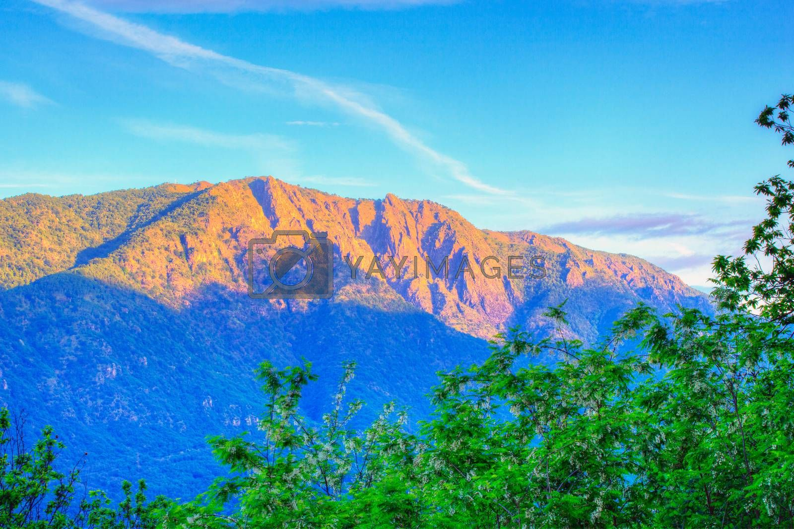 View of the Mottarone mountain in Italy
