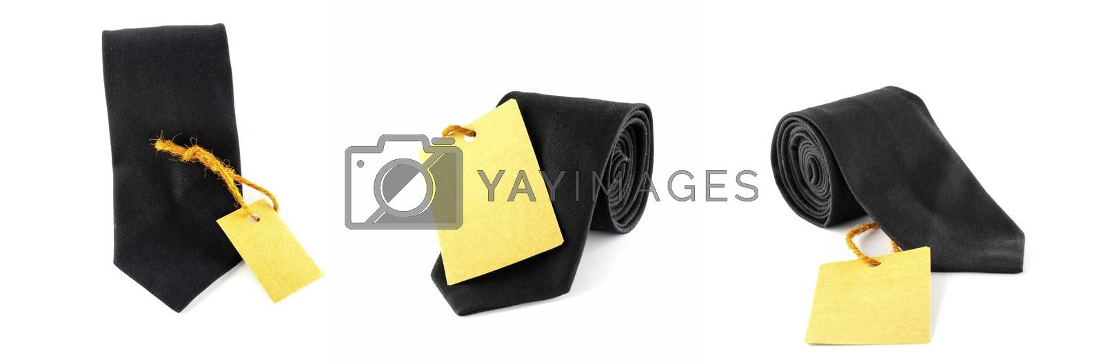 neck tie and cost tag on a white background