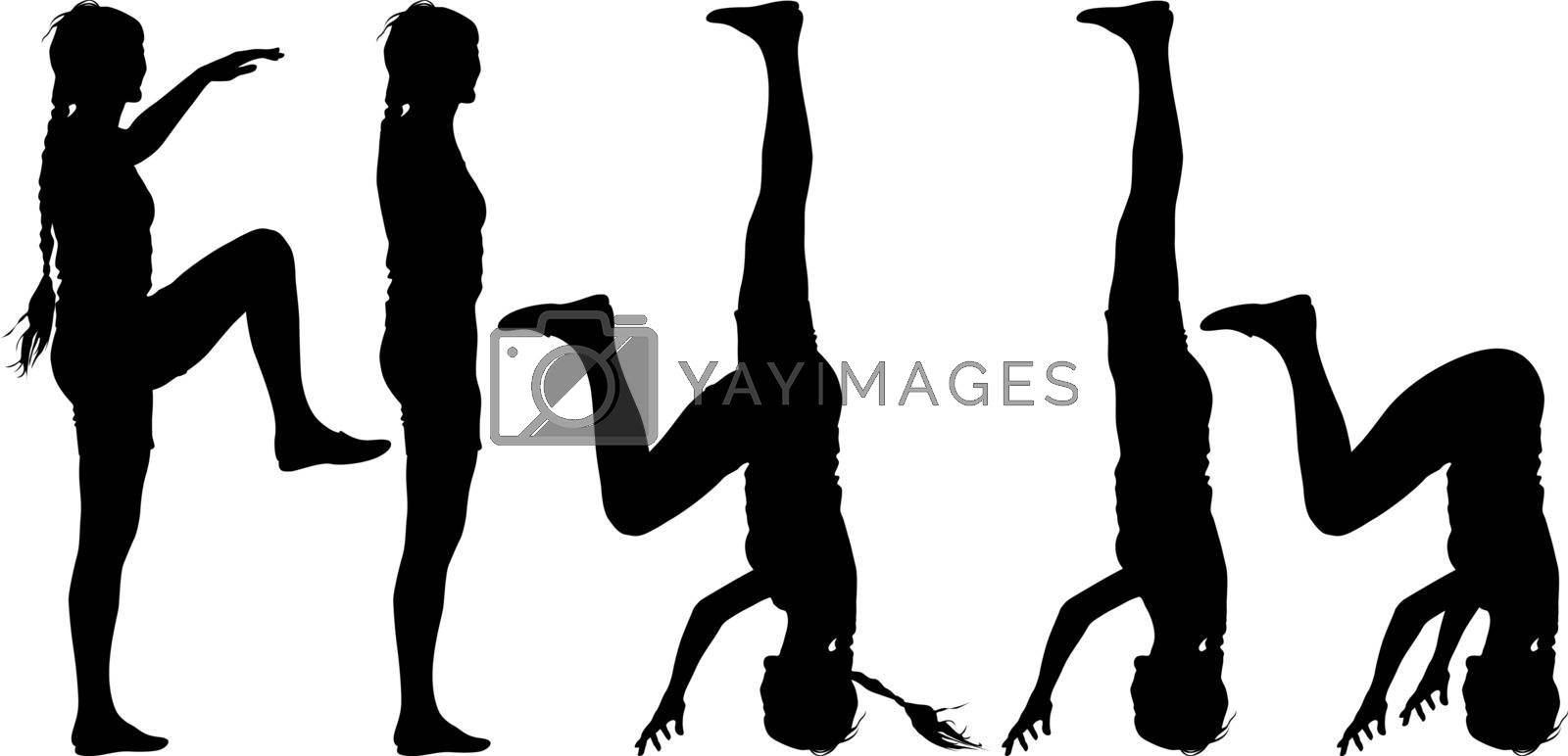 Black silhouette  woman in yoga pose on white background. Vector illustration.