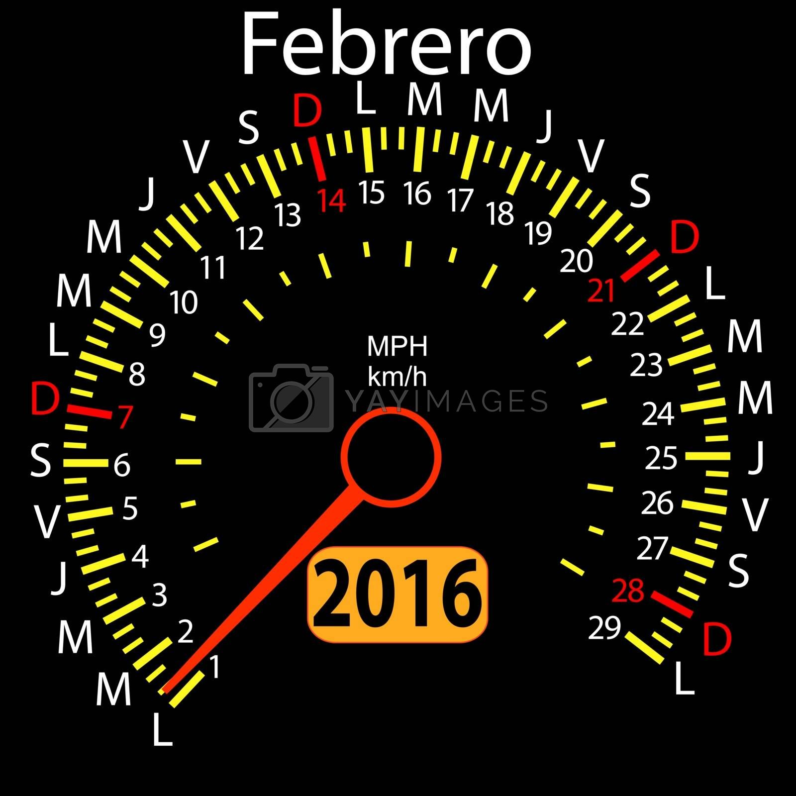 2016 year calendar speedometer car in Spanish, February. Vector illustration.