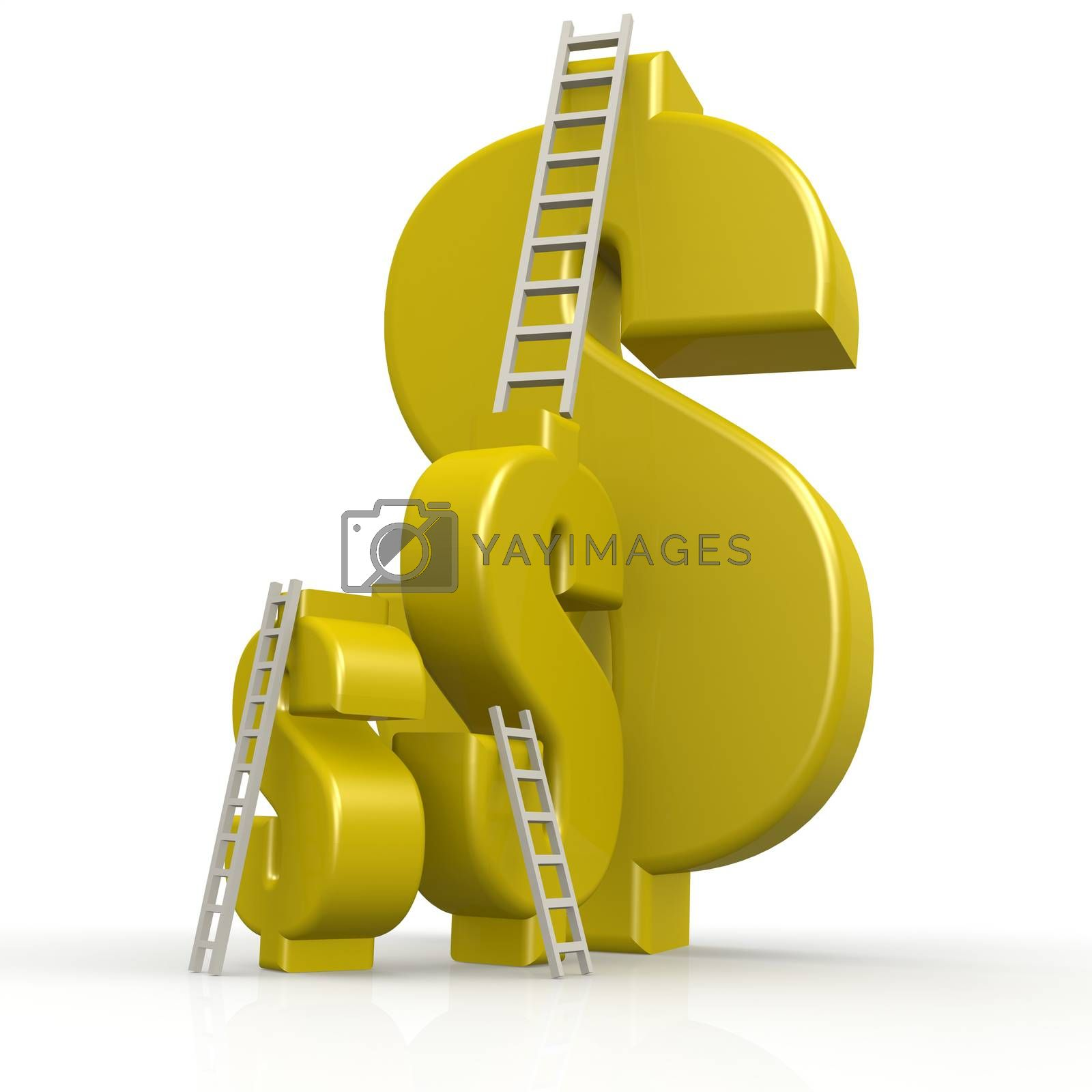 Yellow dollar signs with white ladder by Tang Yann Song