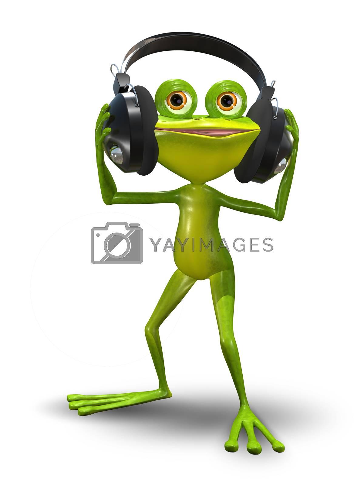 Illustration of a cartoon frog in headphones