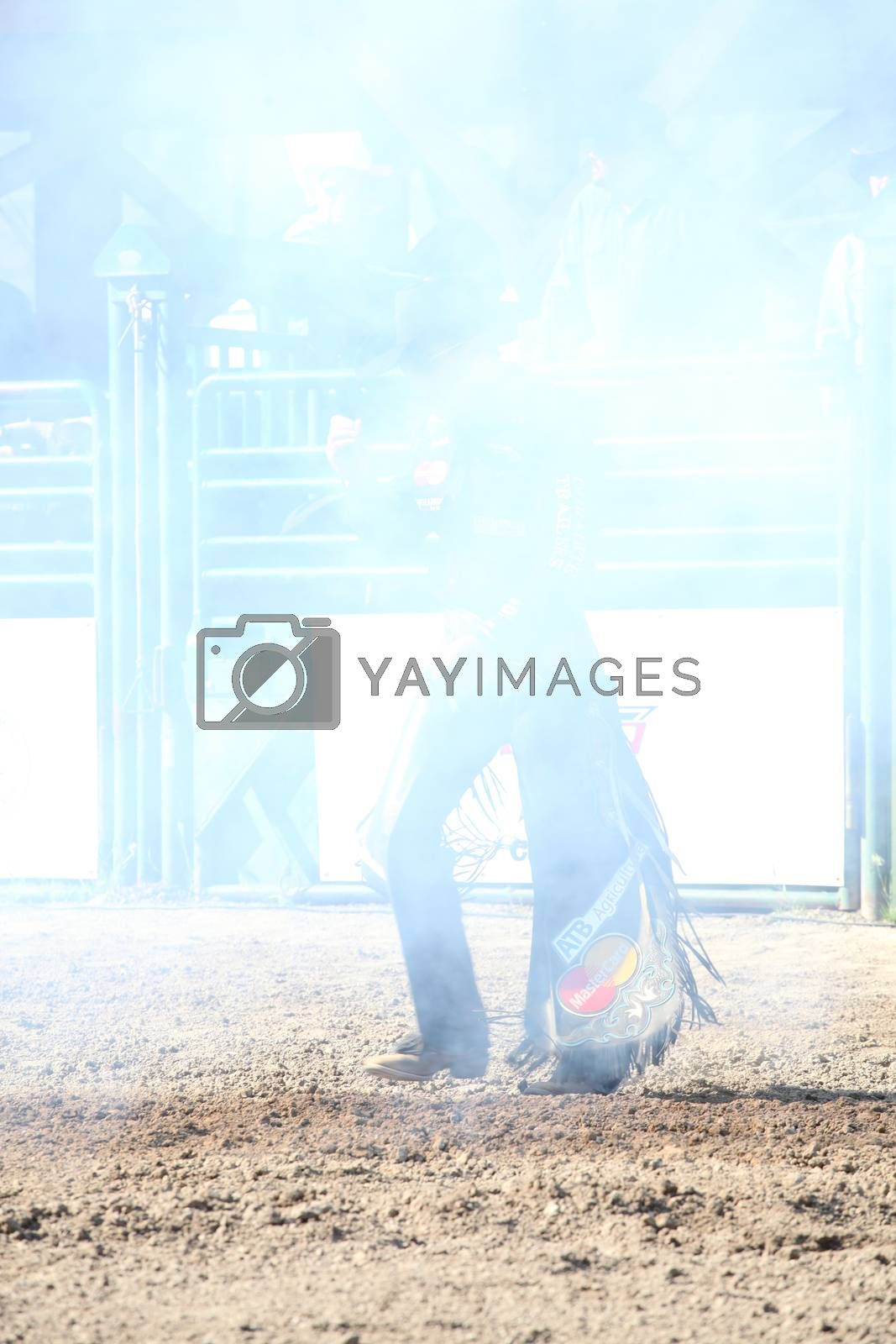MERRITT, B.C. CANADA - May 30, 2015: Bull rider the opening ceremony of The 3rd Annual Ty Pozzobon Invitational PBR Event.