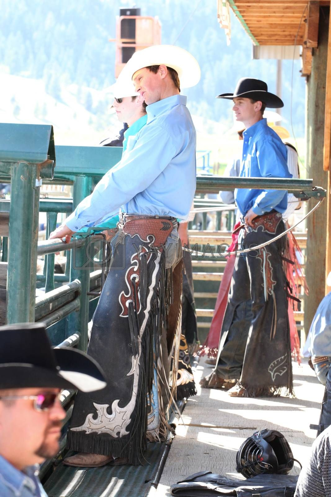 MERRITT, B.C. CANADA - May 30, 2015: Bull riders before the opening ceremony of The 3rd Annual Ty Pozzobon Invitational PBR Event.