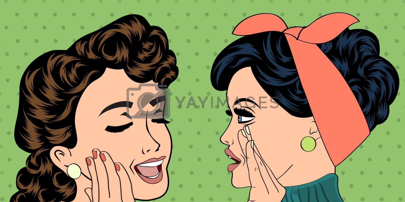 pop art retro women in comics style that gossip, vector illustration