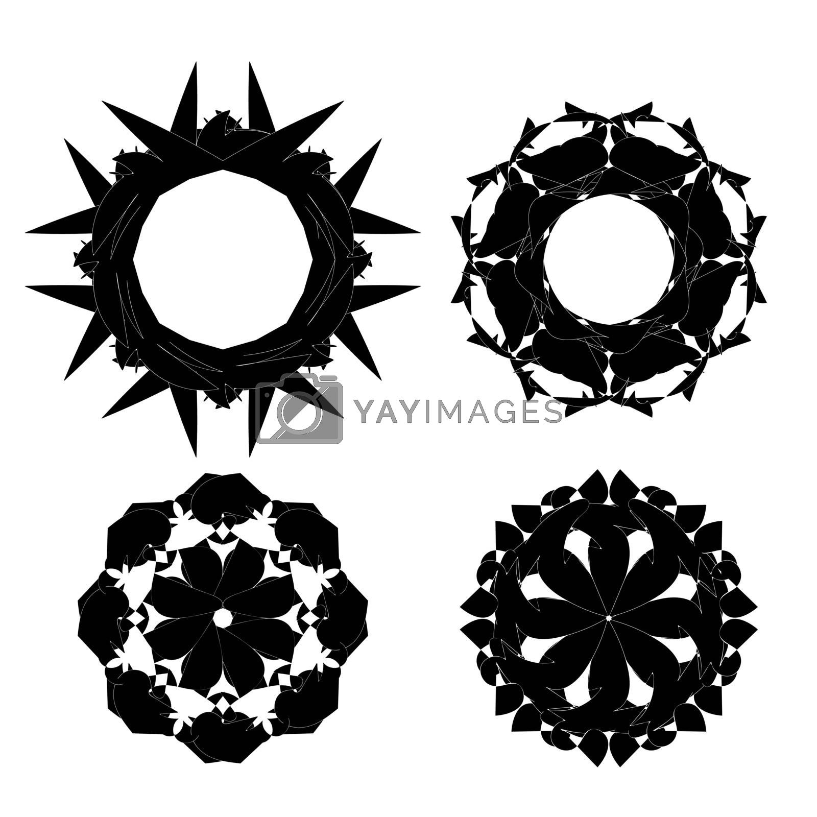 Set of Blacck Ornaments Isolated on White Background