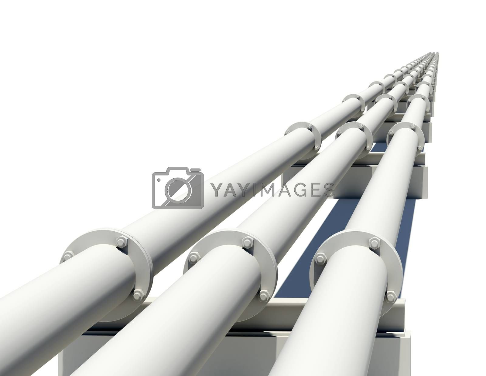 Three industrial pipes stretching into distance. Isolated on white background