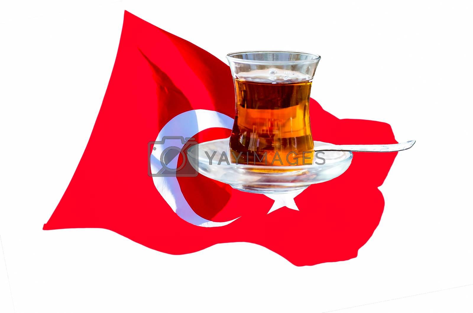 Turkish flag with the traditional crystal tea glass.