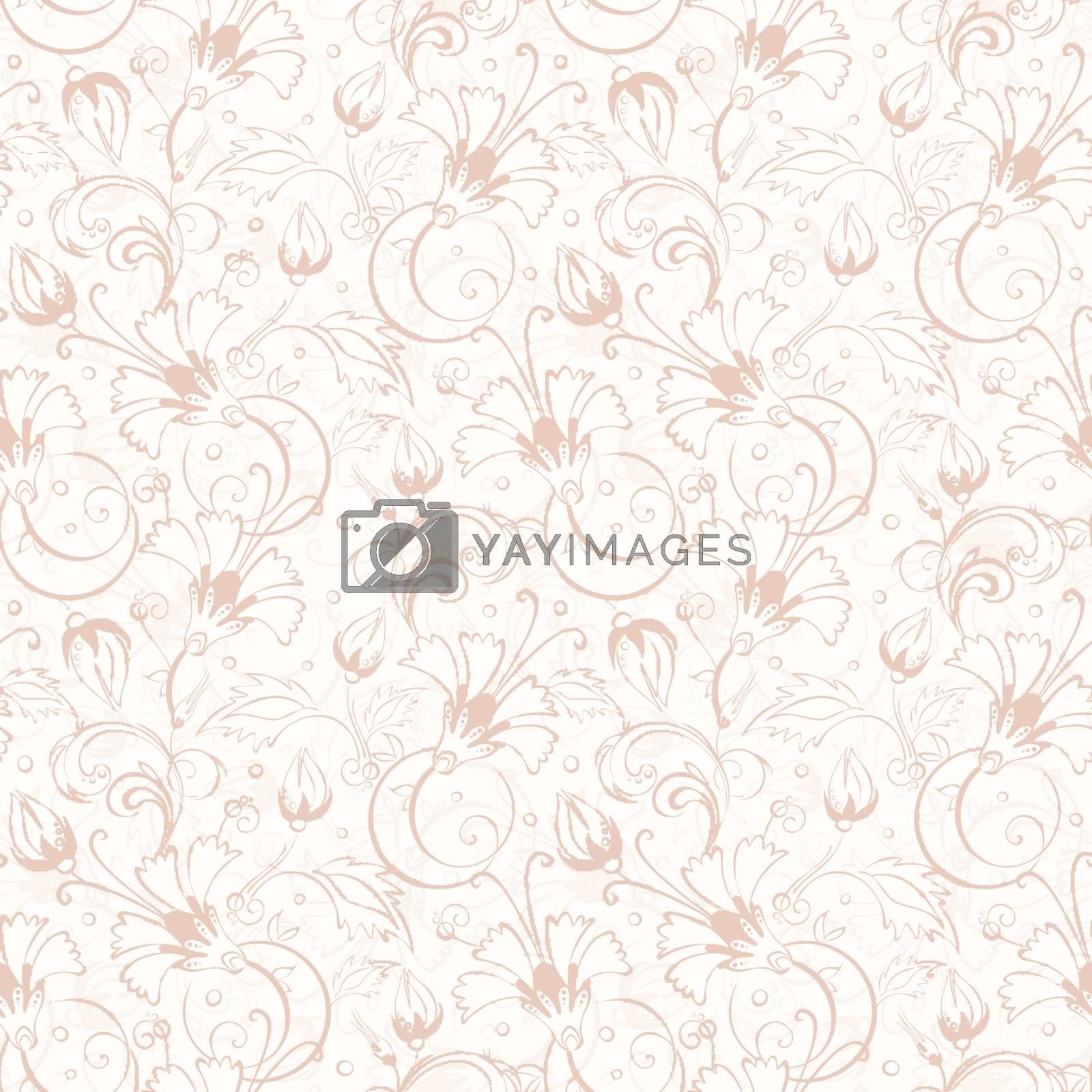 Vector vintage beige turkish floral seamless pattern graphic design