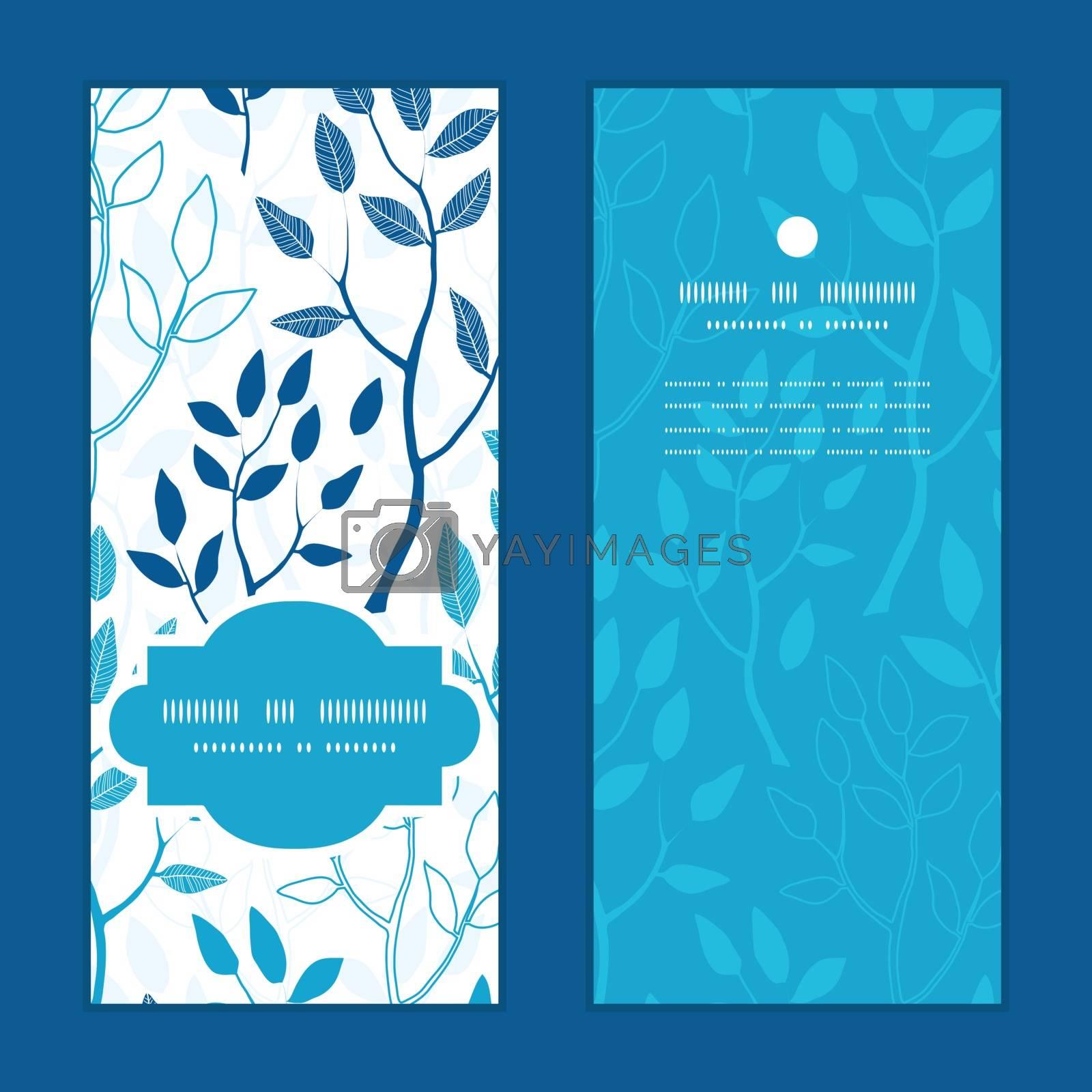 Vector blue forest vertical frame pattern invitation greeting cards set graphic design