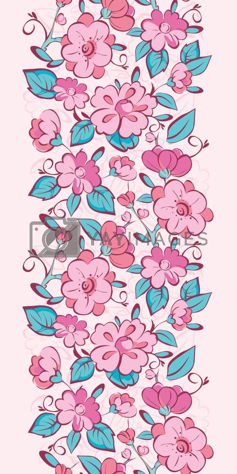 Vector pink blue kimono flowers vertical border seamless pattern background graphic design