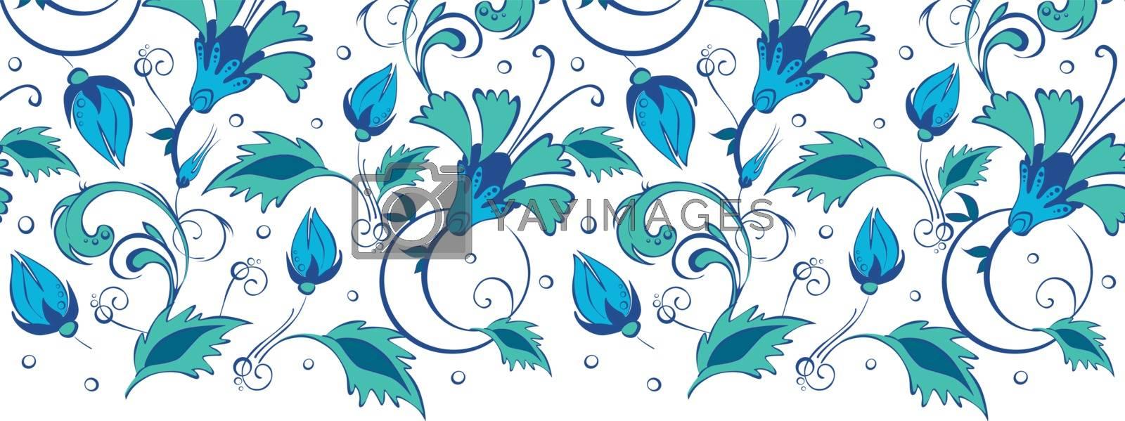 Vector blue green swirly flowers horizontal border seamless pattern background graphic design