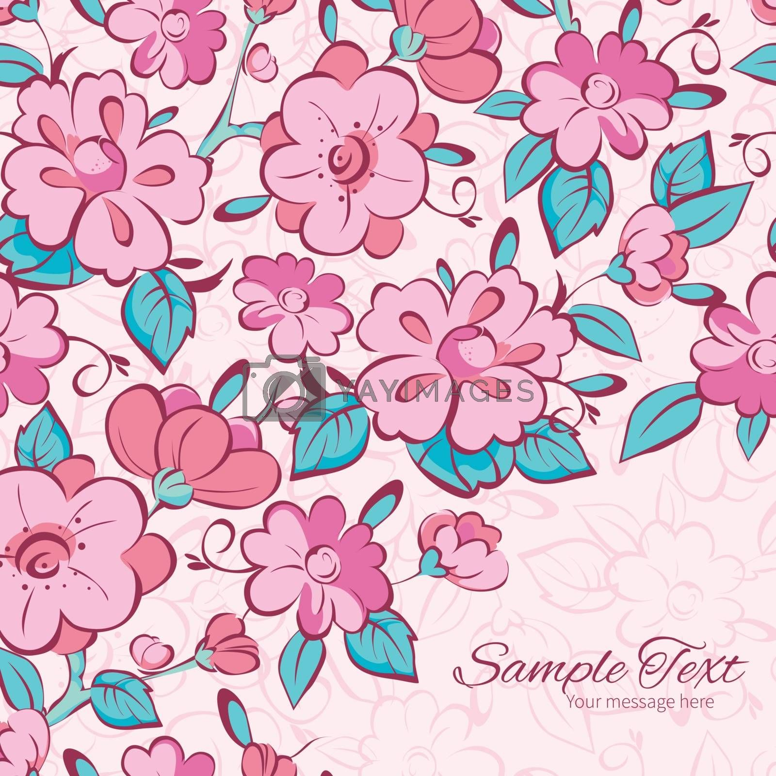 Vector pink blue kimono flowers frame corner pattern background graphic design