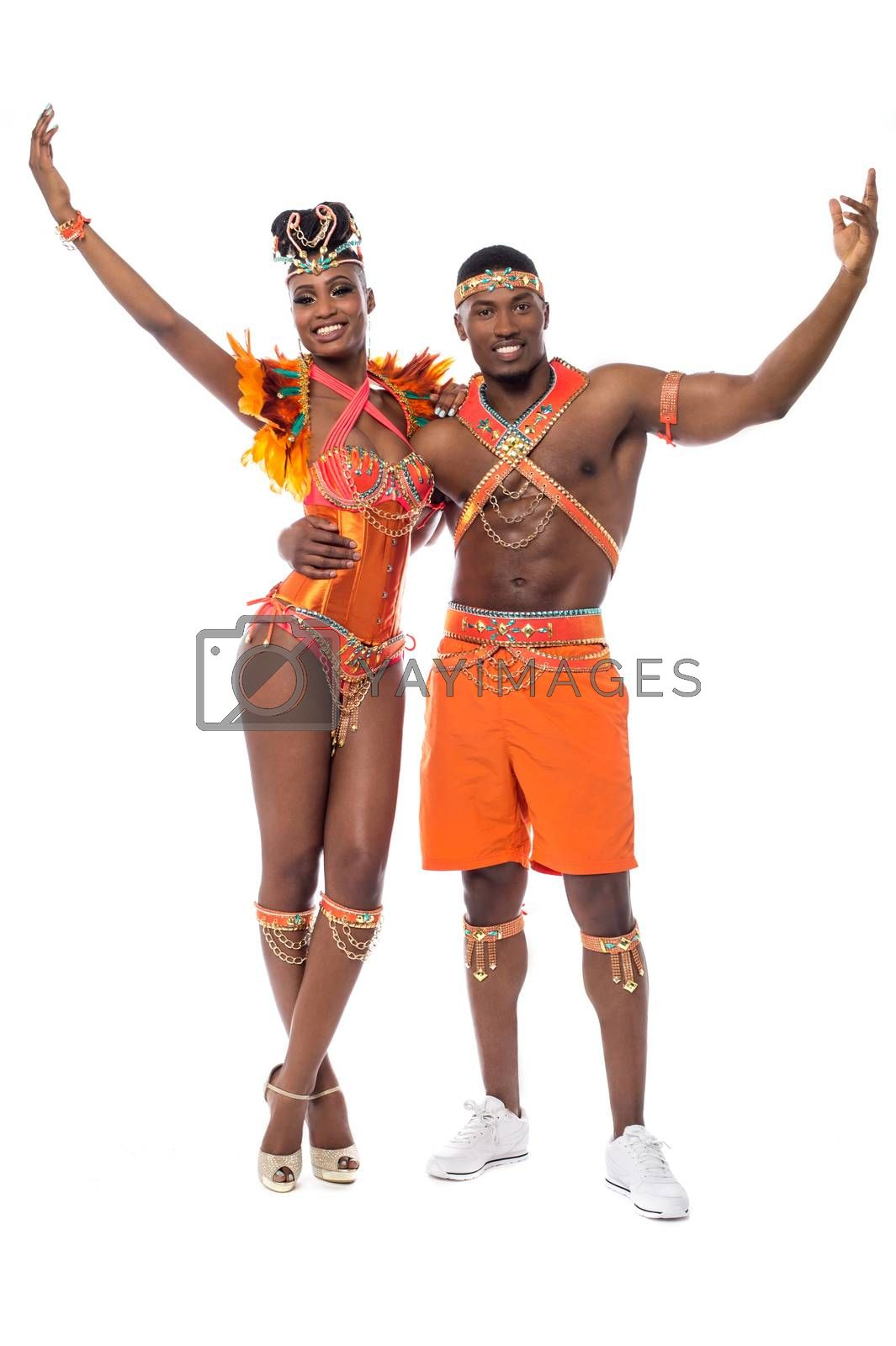Happy samba couple posing together