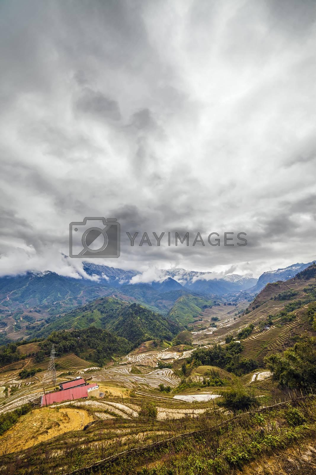 The  Rice field terraces. Sapa Vietnam. Cloudscape
