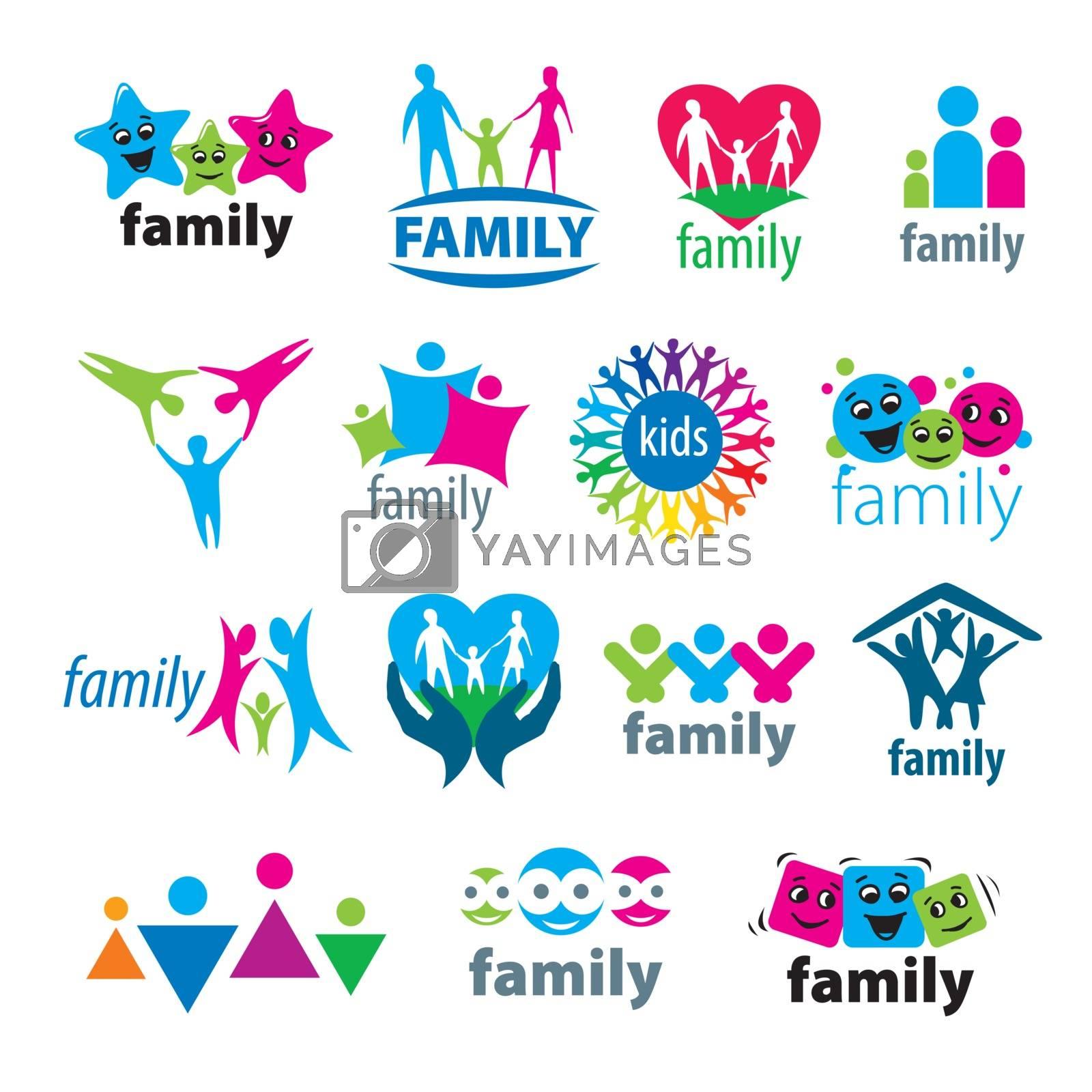 big set of vector logos family