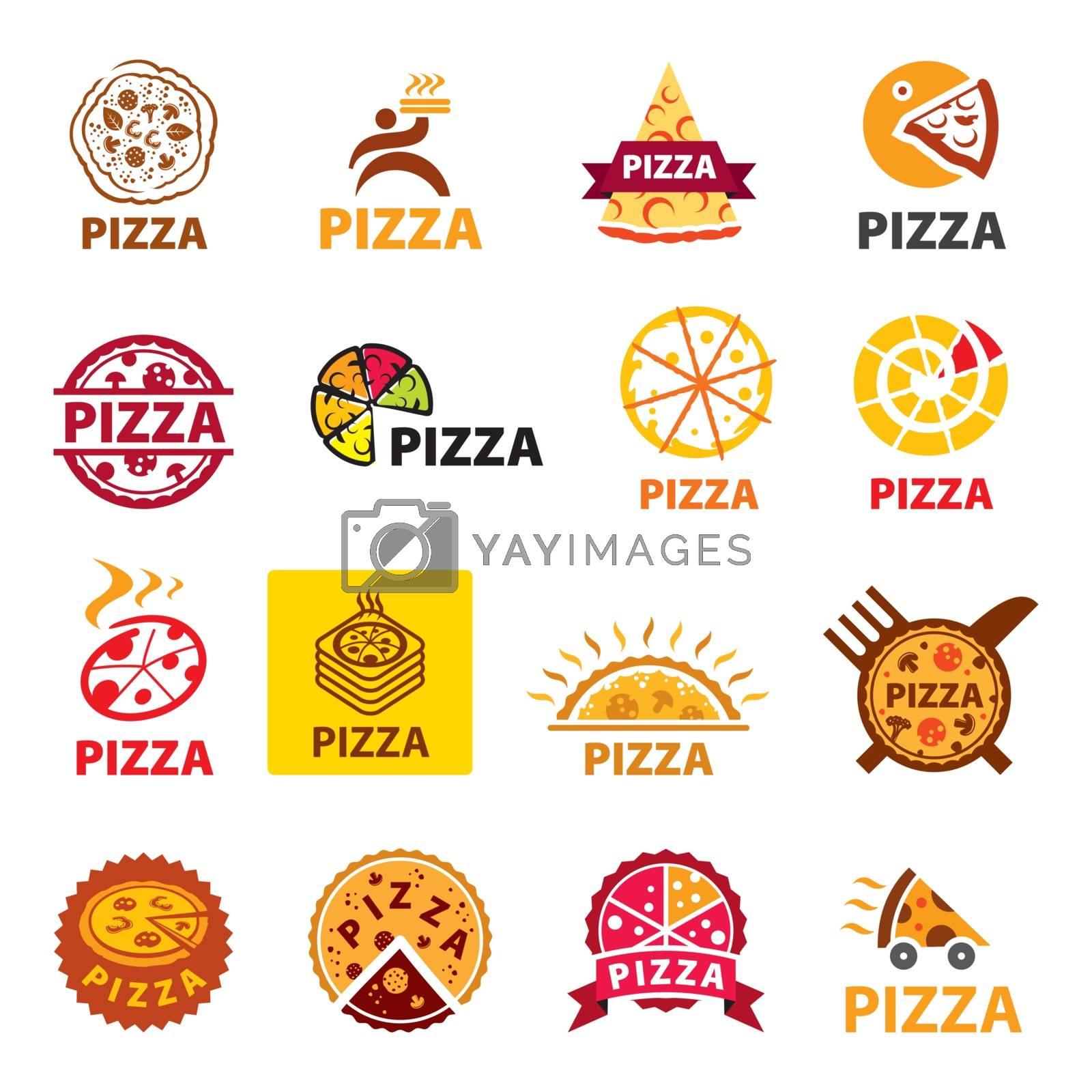 big set of vector logos pizza