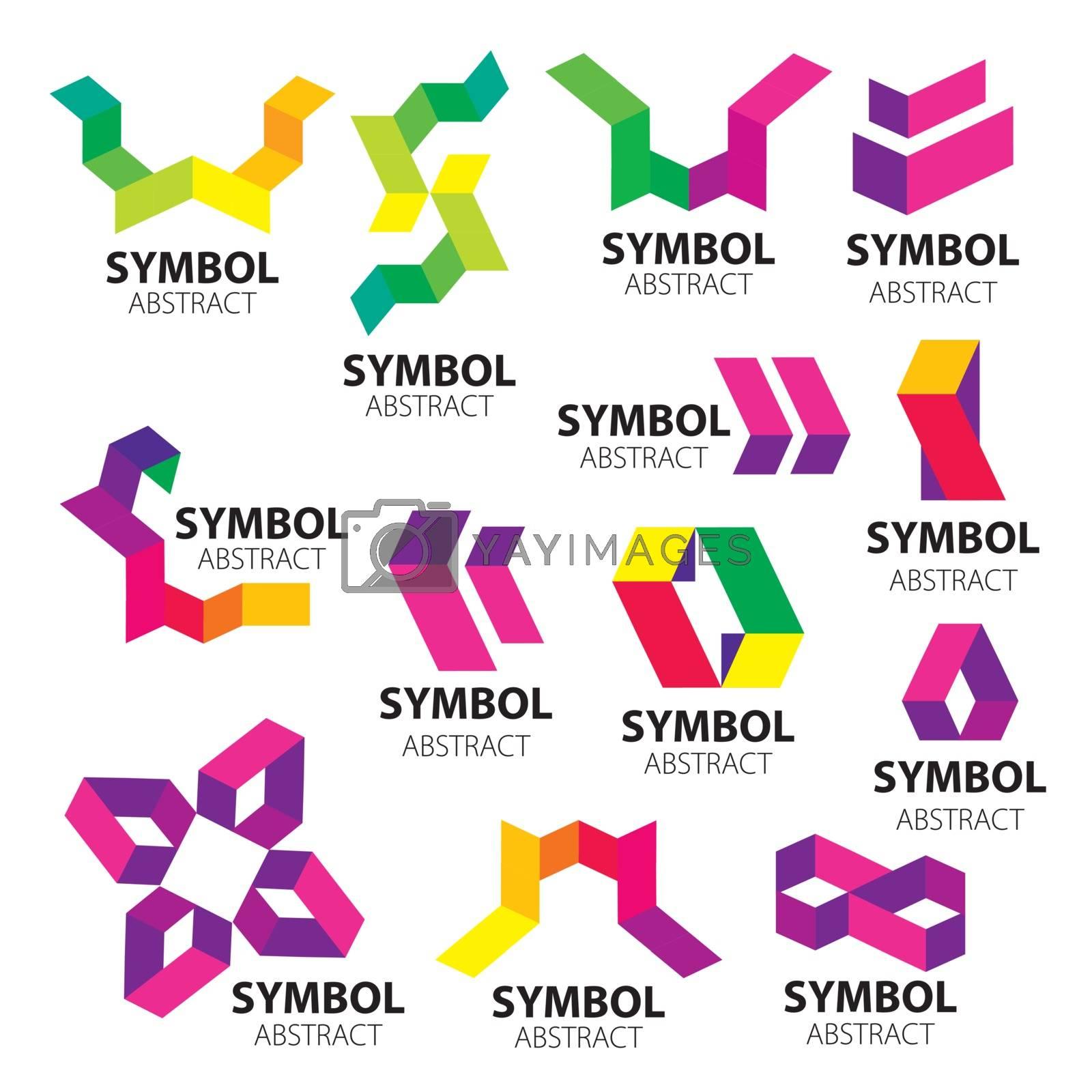 big set of vector logos of geometric modules