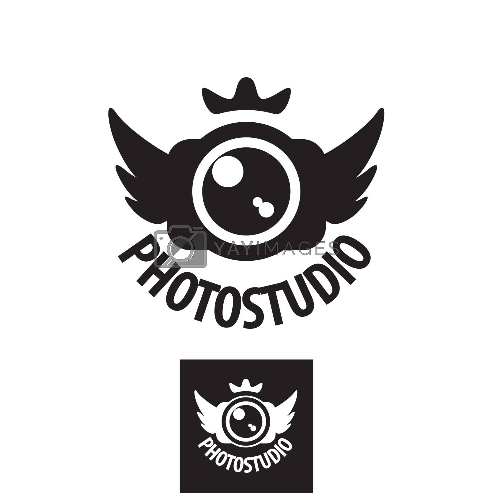 camera vector logo with crown and wings